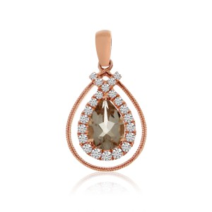 14K Rose Gold Pear Shape Morganite and Diamond Fashion Pendant