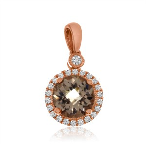 14K Rose Gold 7 mm Round Morganite and Diamond Halo Fashion Pendant