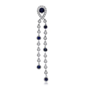 14K White Gold Long Dangling Sapphire and Diamond Precious Pendant
