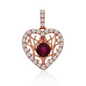 14K Rose Gold Floating Ruby and Diamond Precious Heart Pendant