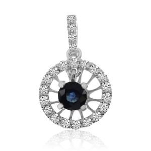 14K White Gold Round Sapphire and Diamond Circle Precious fashion Pendant