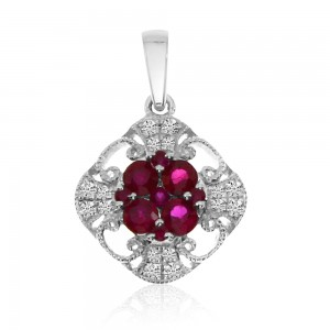 14K White Gold Round Ruby and Diamond Filigree Precious Pendant