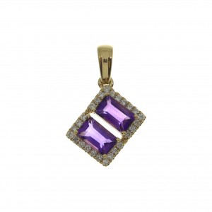 14K Yellow Gold Double Octagon Amethyst and Diamond Semi Precious Fashion Pendan