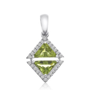 14K White Gold Double Octagon Peridot and Diamond Semi Precious Triangle Fashion