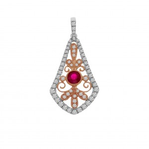 14K Two Tone Rose and White Gold Ruby and Diamond Filigree Pendant