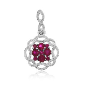 14K White Gold Ruby Braided Precious Fashion Pendant