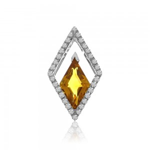 14K White Gold Trillion Citrine and Diamonds Semi Precious Slide Pendant