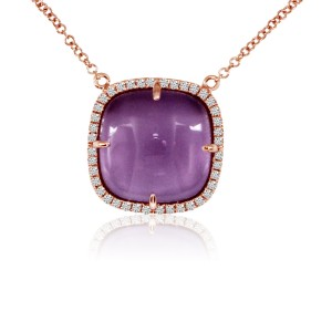 14K Rose Gold 12mm Cabochon Cushion Amethyst and Diamond Fashion Necklace