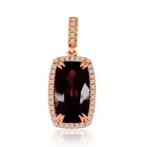 14K Rose Gold 12x6 Octagon Cushion Garnet and Diamond Semi Precious Fashion Pend