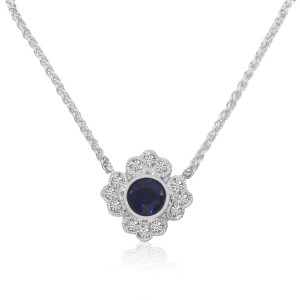 14K White Gold Round Sapphire and Diamond Filigree Precious Necklace