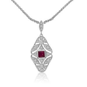 14K White Gold Princess Ruby and Diamond Filigree Precious Necklace