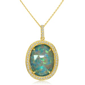 14K Yellow Gold Oval Opal Doublet and Diamond Fashion Pendant