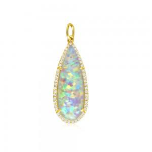 14K Yellow Gold Pear shape Opal Doublet and Diamond Fashion Pendant