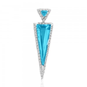 14K White Gold Double Triangle Semi Precious Blue Topaz and Diamond Fashion Pend