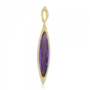 14K Yellow Gold Elongated Marquise Amethyst and Diamond Semi Precious Fashion Pe