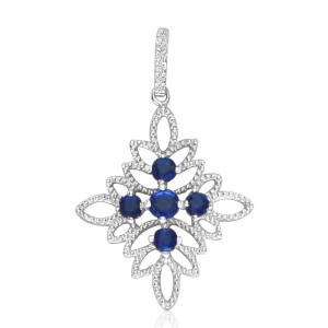 14K White Gold Precious Sapphire and Diamond Fashion Pendant