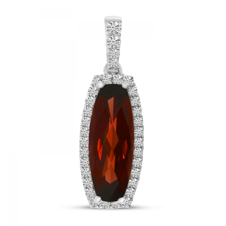 14K White Gold Oval Garnet and Diamond Semi Precious Pendant