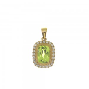 14K Yellow Gold Cushion Peridot and Diamond Halo Semi Precious Pendant