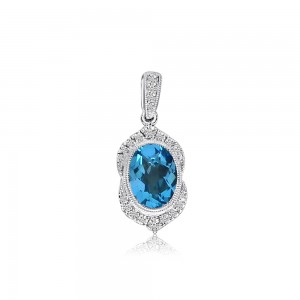 14K White Gold Oval Blue Topaz and Diamond Semi Precious Fashion Pendant