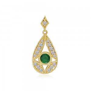14K Yellow Gold Round Emerald and Diamond Pear Shape Precious Pendant