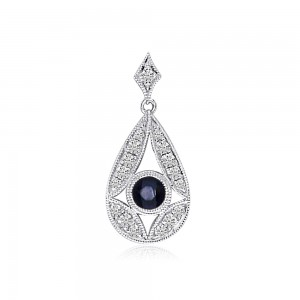 14K White Gold Round Sapphire and Diamond Pear Shape Precious Pendant