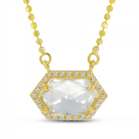 14K Yellow Gold Hexagon White Topaz and Diamond Necklace