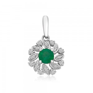 14K White Gold Round Emerald and Diamond Precious Floral Pendant