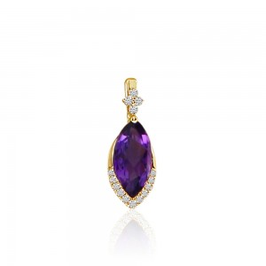 14K Yellow Gold Marquise Amethyst and Diamond Semi Precious Pendant