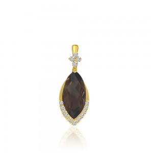 14K Yellow Gold Marquise Smoky Topaz and Diamond Semi Precious Pendant