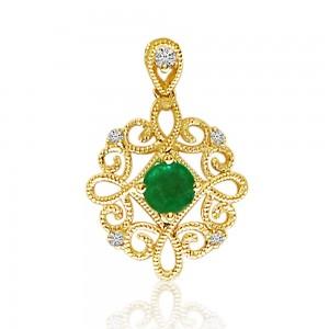 14K Yellow Gold Emerald and Diamond Precious Beaded Filigree Pendant