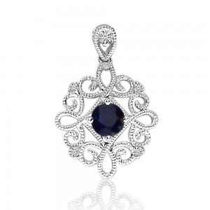 14K White Gold Sapphire and Diamond Precious Beaded Filigree Pendant