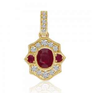 14K Yellow Gold Oval Ruby and Diamond Precious Pendant