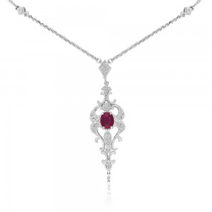 14K White Gold Oval Ruby and Diamond Precious Filigree Necklace