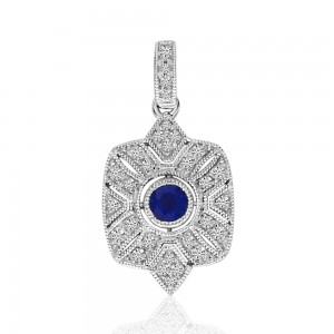 14K White Gold Square Art Deco Sapphire and Diamond Precious Pendant