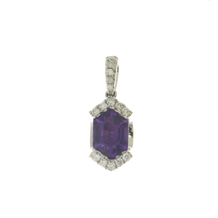 14K White Gold Hexagon Amethyst and Diamond Semi Precious Pendant