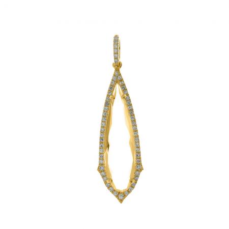 14K Yellow Gold Long Fancy White Topaz and Diamond Dangle Pendant
