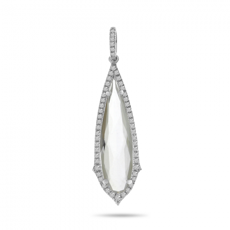 14K White Gold Long Fancy White Topaz and Diamond Dangle Pendant
