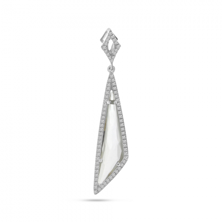 14K White Gold Fancy White Topaz and Diamond Dangle Pendant