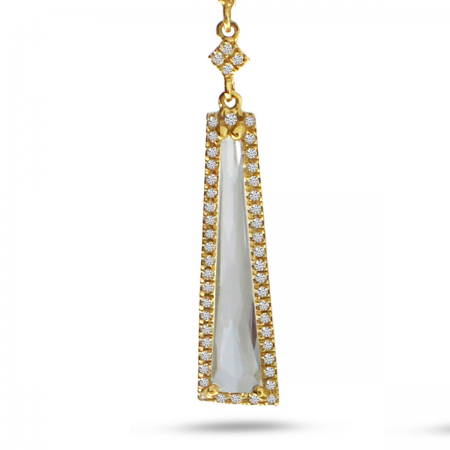 14K Yellow Gold Fancy White Topaz and Diamond Dangle Pendant