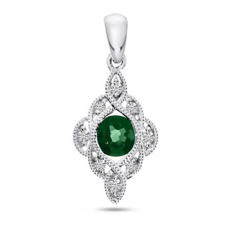 14K White Gold Round Emerald and Diamond Precious Pendant