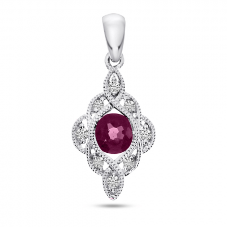 14K White Gold Round Ruby and Diamond Precious Pendant