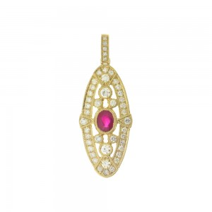 14K Yellow Gold Precious Ruby and Diamond Oval Art Deco Pendant
