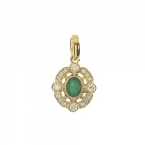 14K Yellow Gold Small Precious Oval Emerald and Diamond Pendant