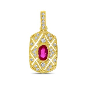 14K Yellow Gold Art Deco Precious Ruby and Diamond Rectangular Pendant