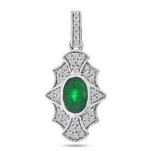 14K White Gold Oval Emerald and Diamond Art Deco Precious Pendant