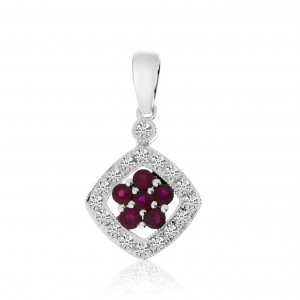 14K White Gold Precious Round Rubies and Diamond Pendant