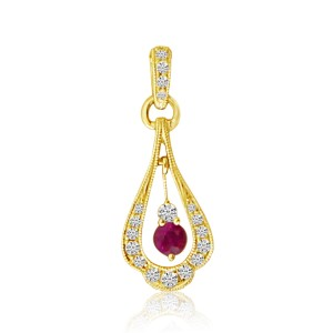 14K Yellow Gold Moveable Ruby and Diamond Precious Pendant