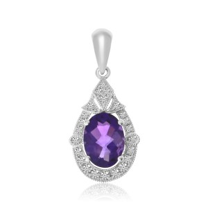 14K White Gold Oval Amethyst and Diamond Semi Precious Pendant