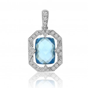 14K White Gold Cushion Blue Topaz and Diamond Semi Precious Pendant