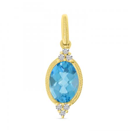 14K Yellow Gold Oval Blue Topaz with Diamond Semi Precious Pendant